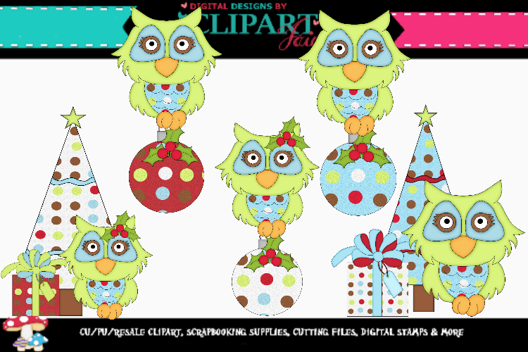 Green Christmas Owls example image 1