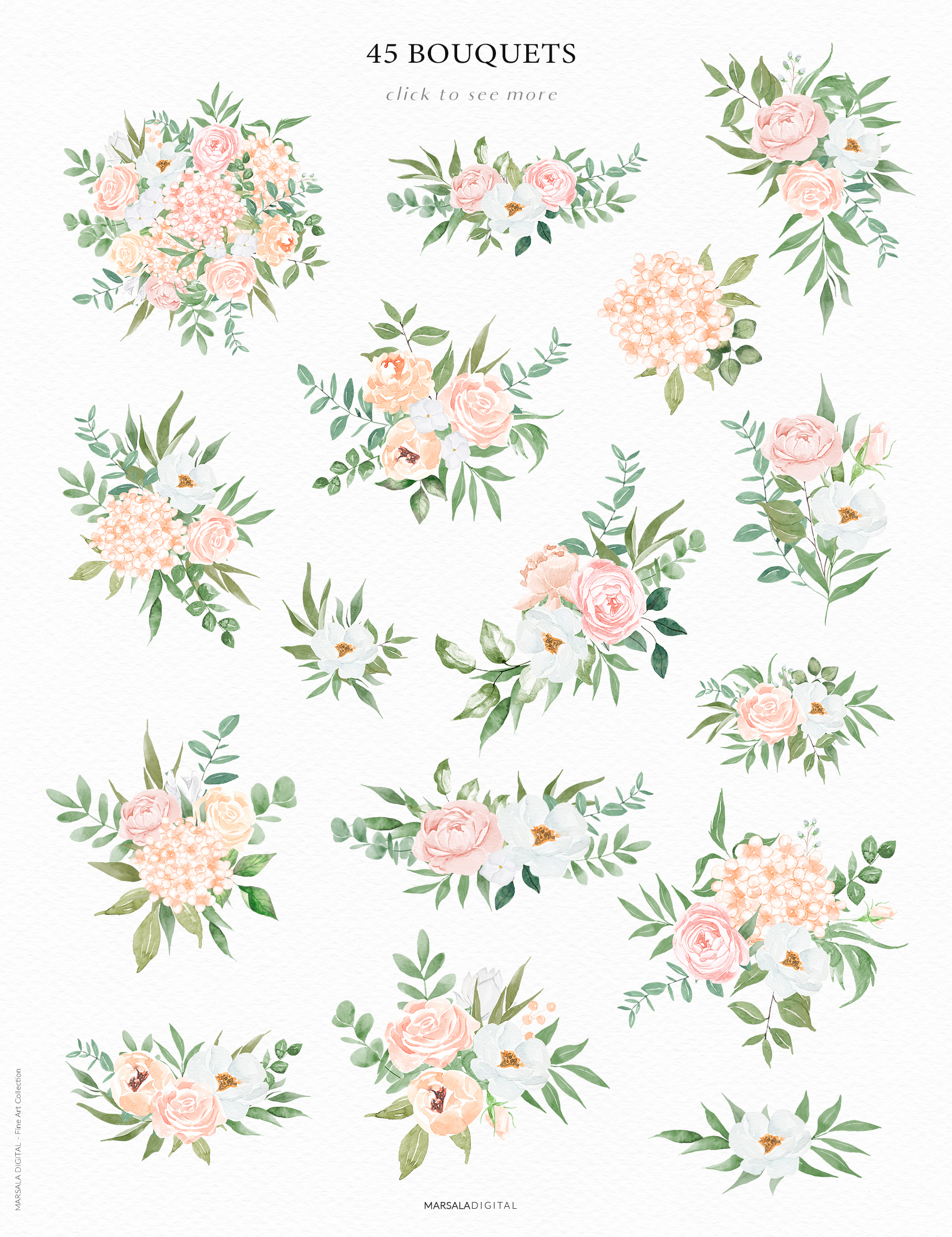 Watercolor Flowers Watercolor Florals Peach & White example image 2