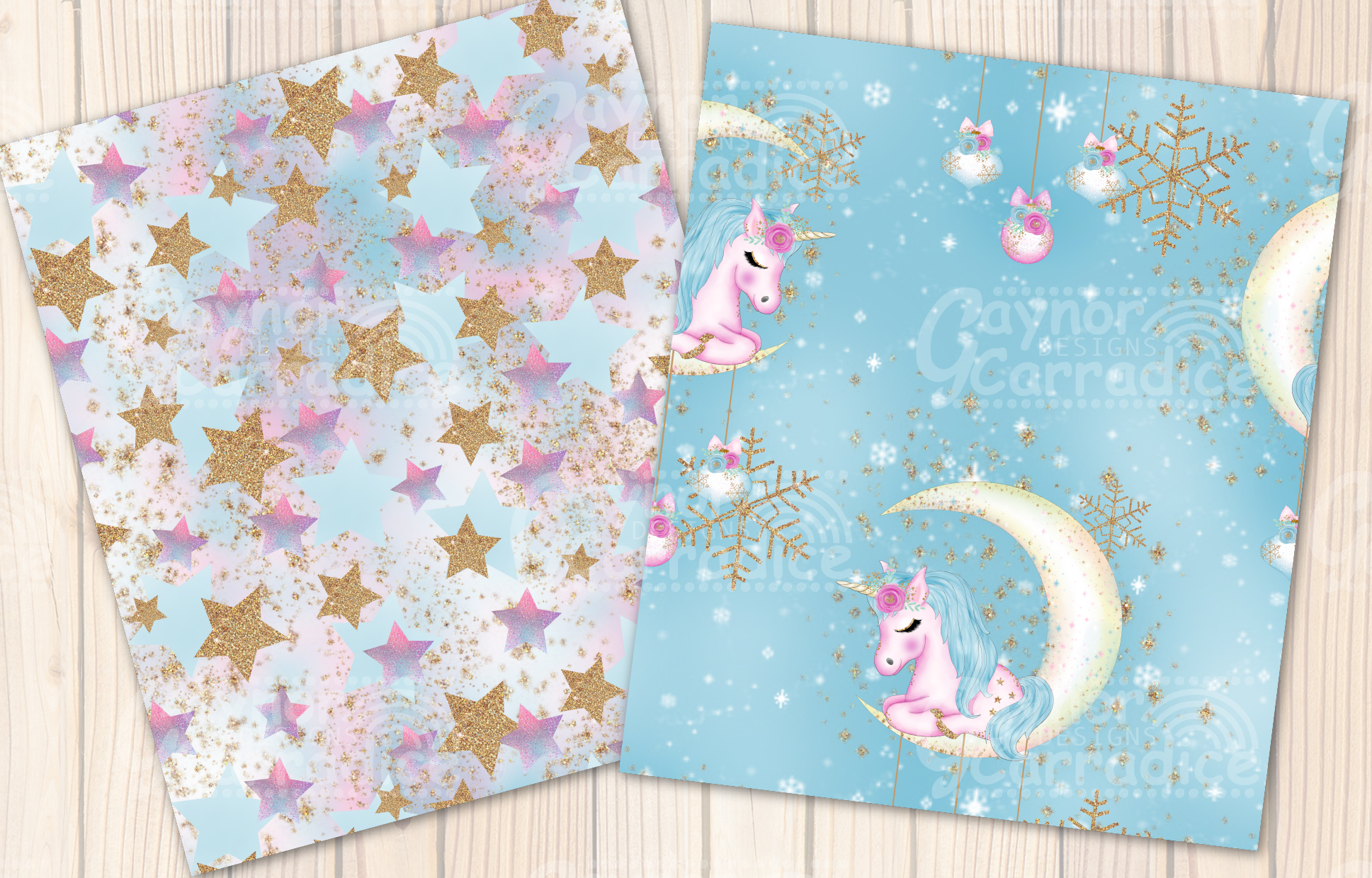 Christmas Unicorn Seamless Pattern collection example image 5