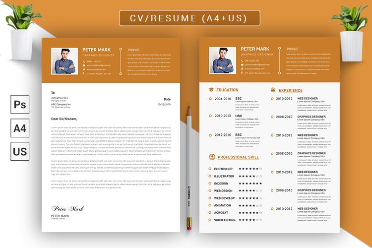 CV Resume PSD Template example image 4