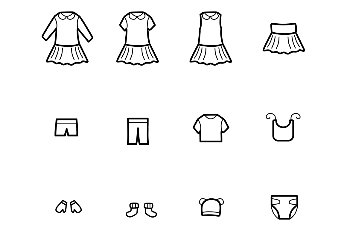 Baby Clothes Line Icons Set example image 4