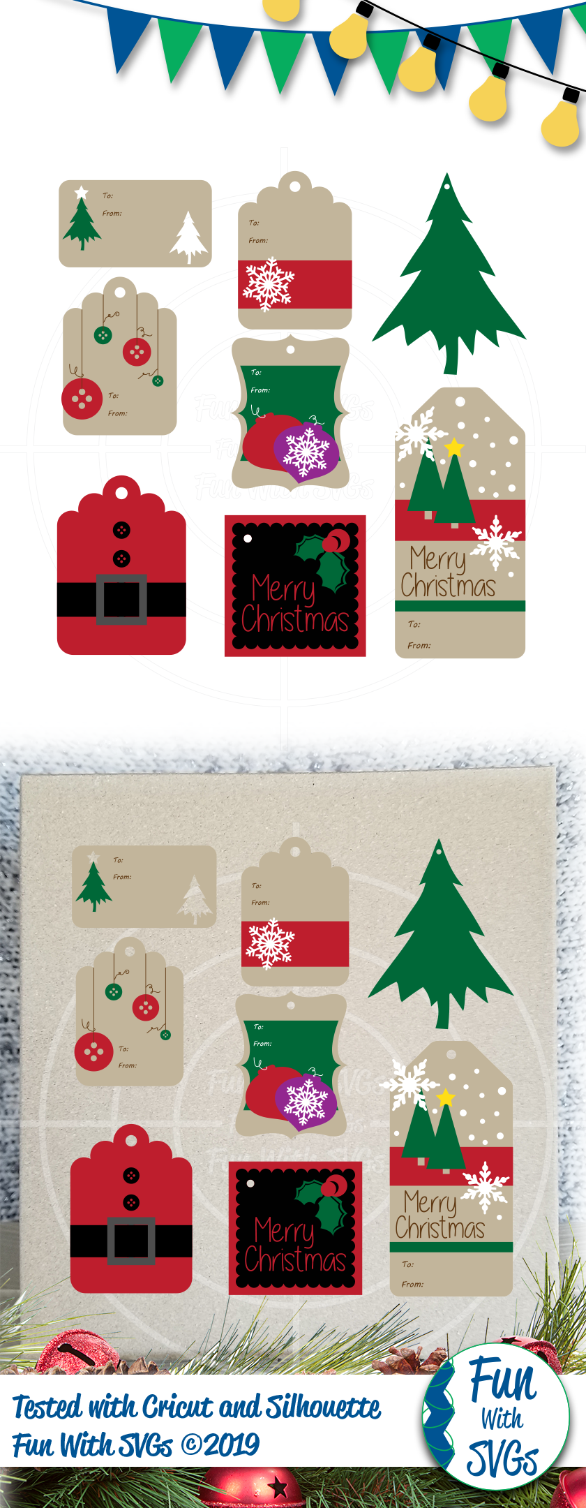 SVG Christmas Tags Vector, Cut File, Clip Art FWS449 example image 2