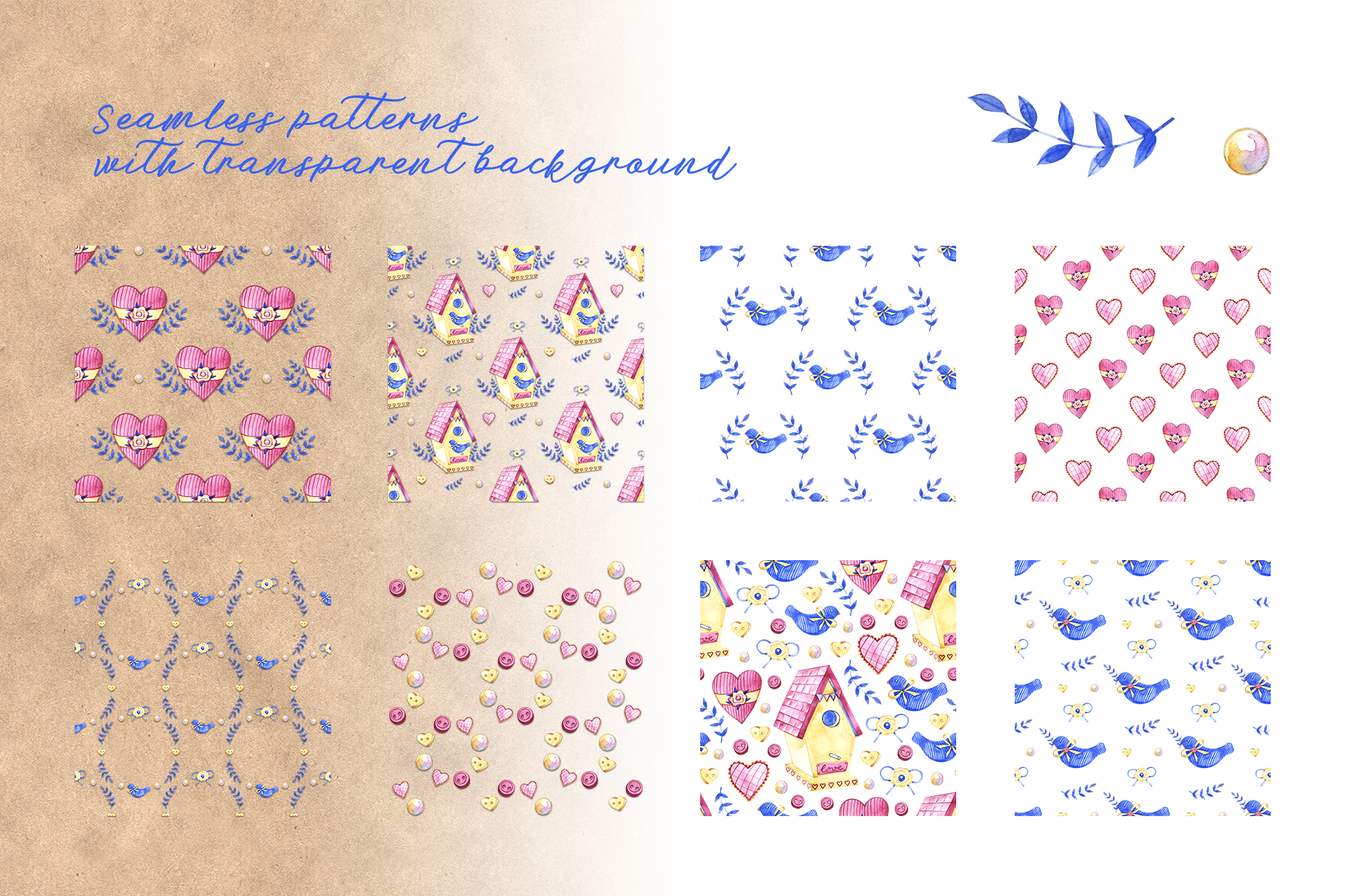 Watercolor spring craft patterns example image 2