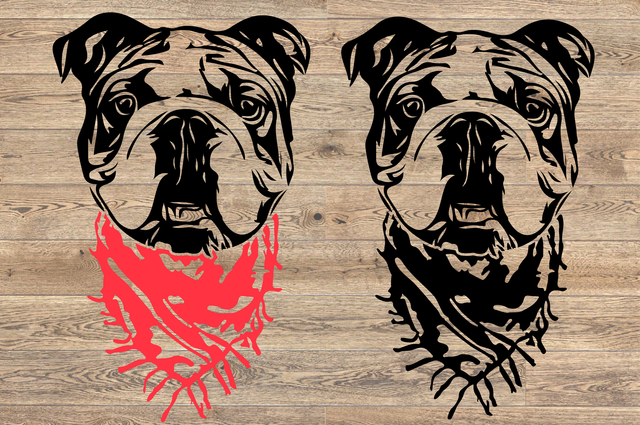 Bulldog Whit Scarf SVG Head French Dog 4th July 1268S example image 2