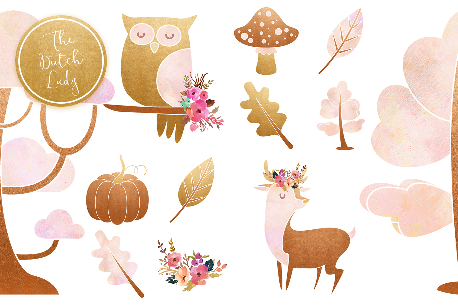 Enchanted Fairy Forest Clipart Set example image 6