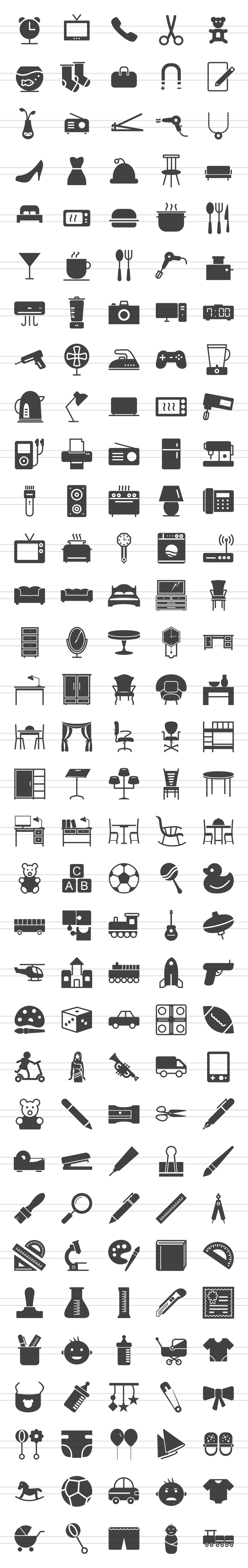 166 Objects Glyph Icons example image 2