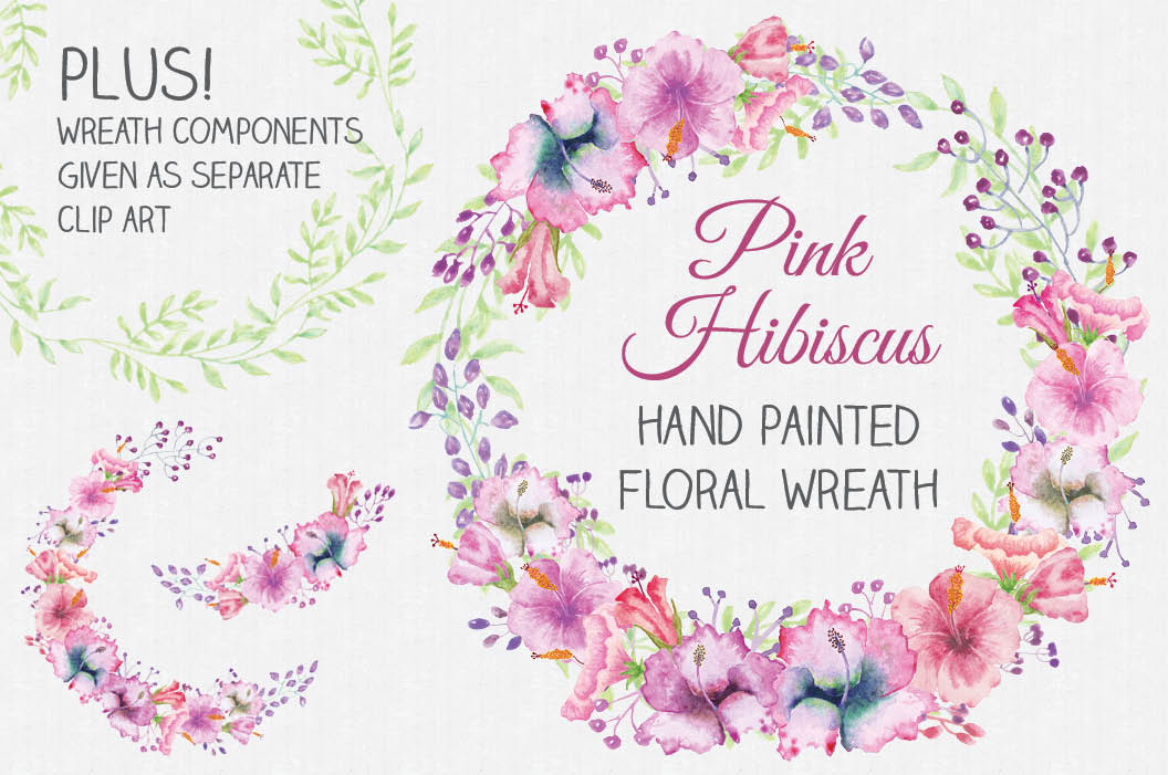 Watercolor wreath of pink Hibiscus flowers example image 1