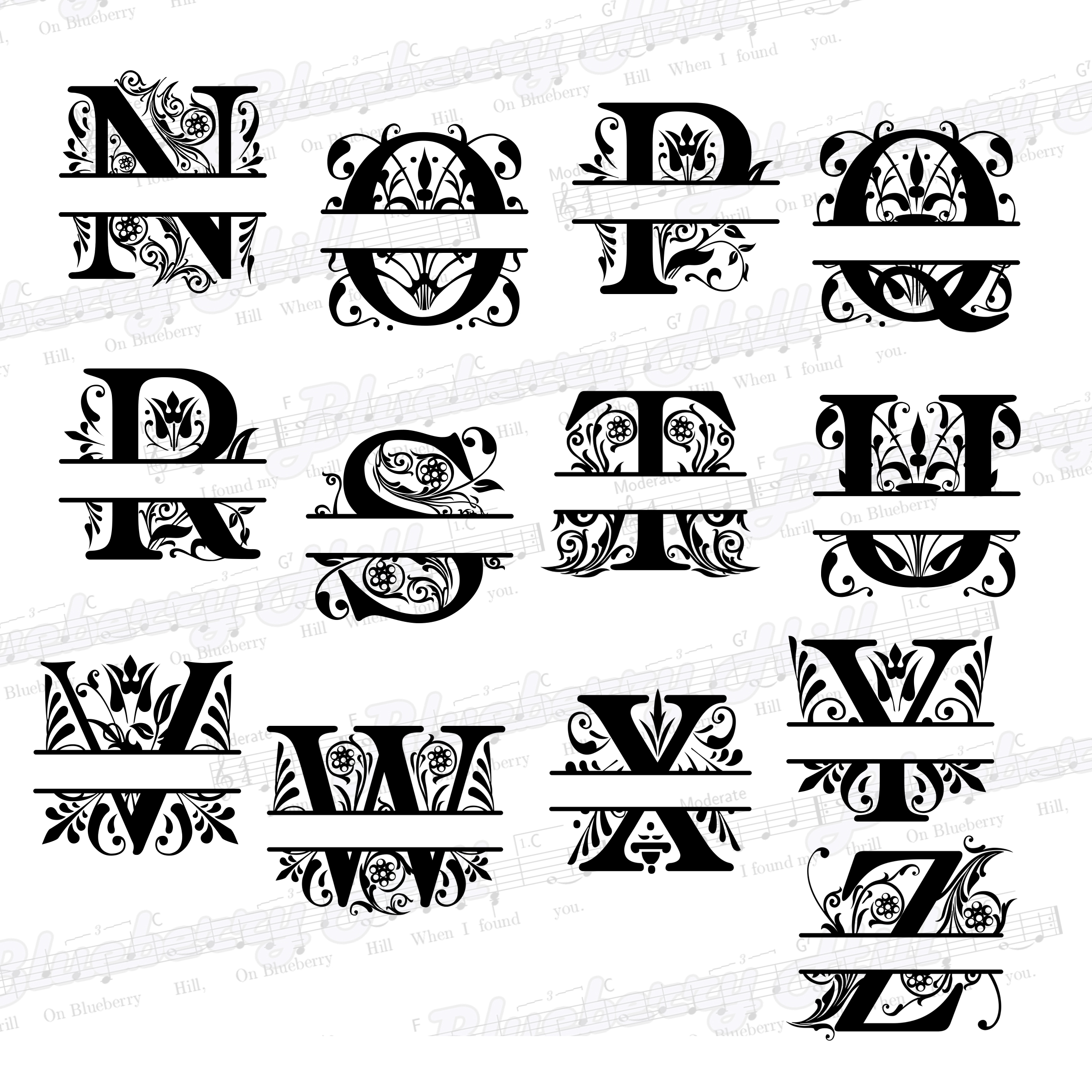 Regal Split Monogram Letters SVG - Regal Letters cut files example image 4