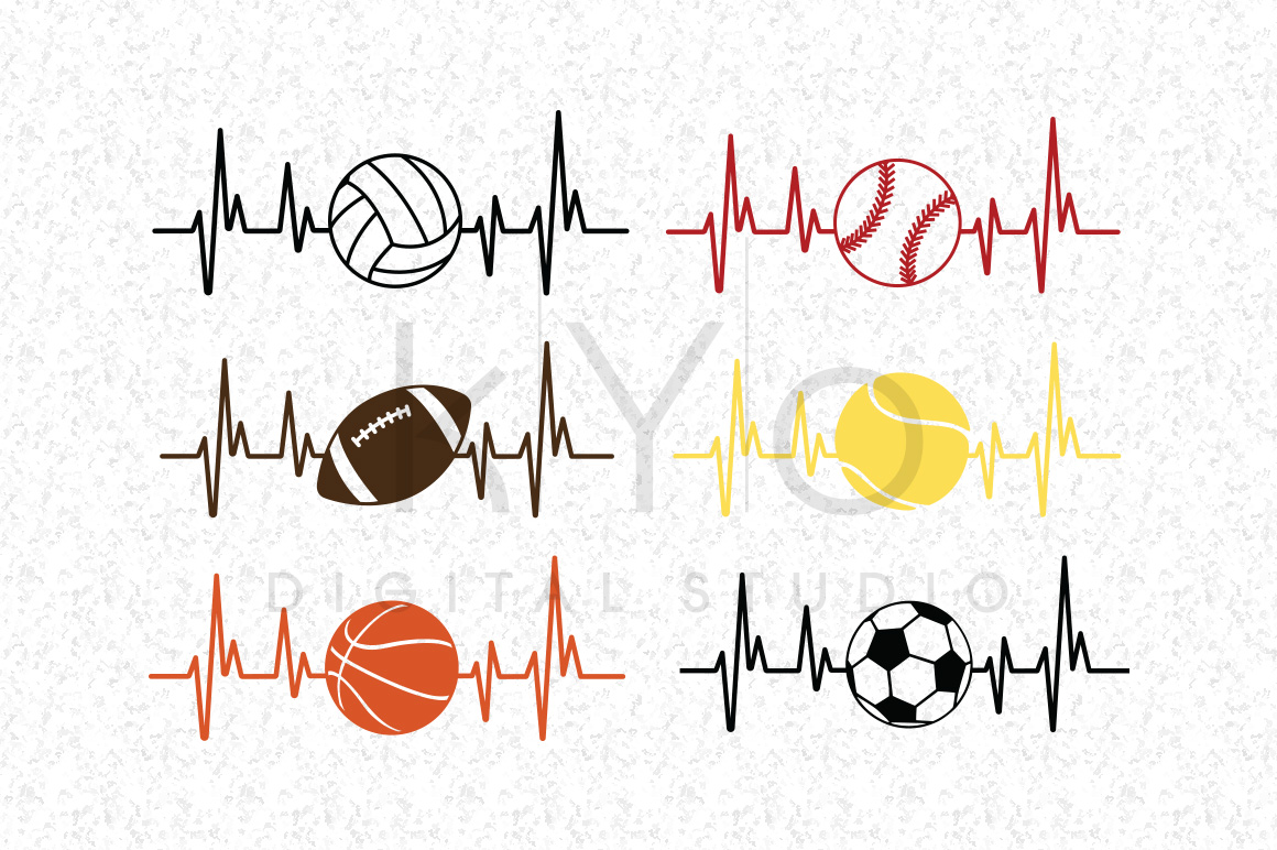 Baseball Football Soccer Basketball Volleyball Tennis Heart Beat SVG DXF PNG EPS files for Cricut and Silhouette  example image 1