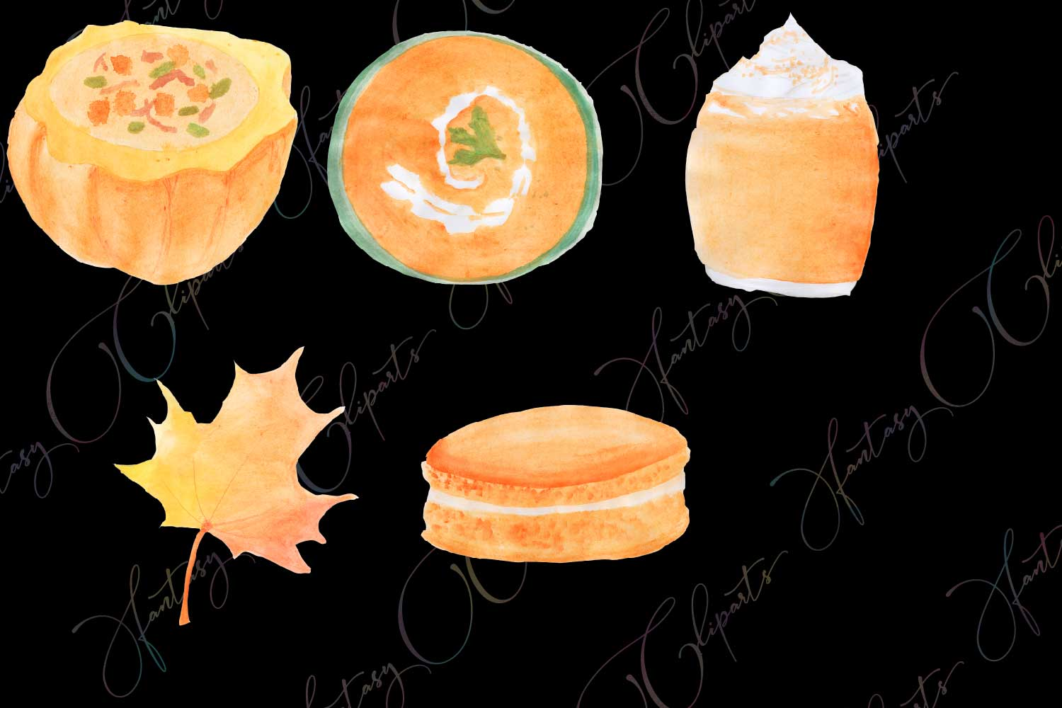 Watercolor Hand Drawn Pumpkin Spice Clipart example image 4