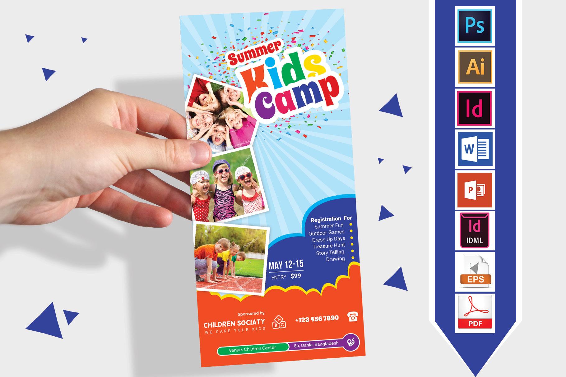 Rack Card | Kids Summer Camp DL Flyer Vol-3 example image 1