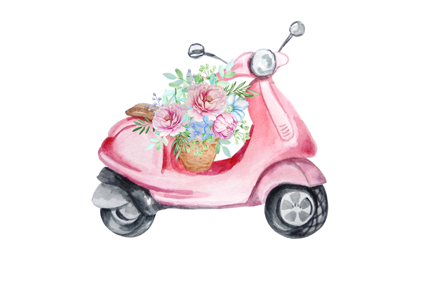 Watercolor Retro Red Moped Clipart Set example image 8