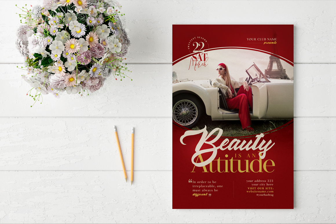 Beauty Is An Attitude Flyer Template example image 2