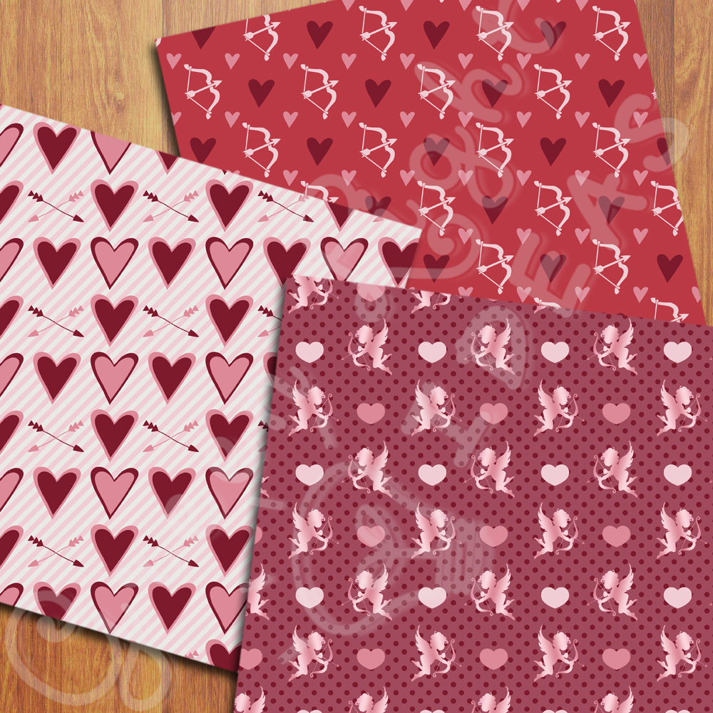 Valentines Digital Papers, Valentine's Day Backgrounds, Arrows and Hearts Papers example image 2