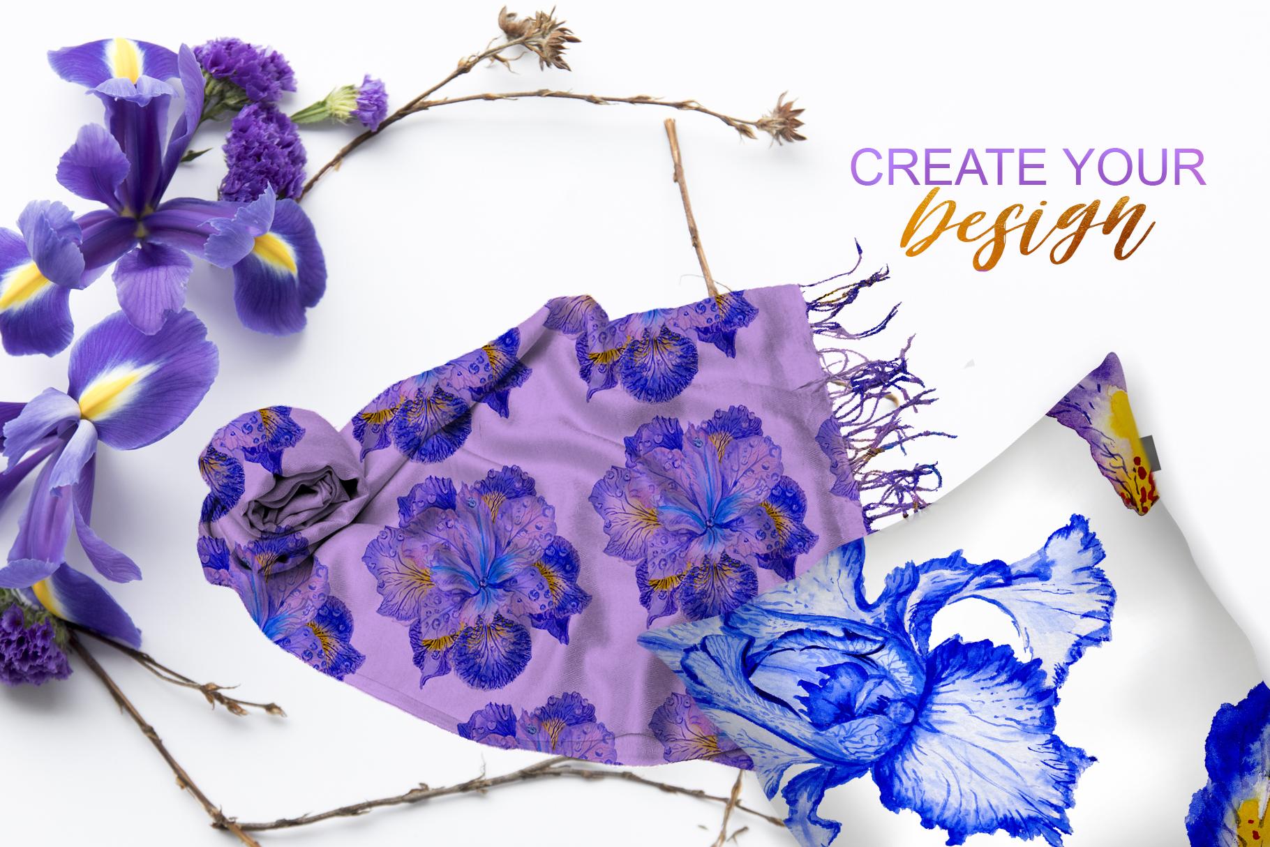 Iris blue Watercolor png example image 2