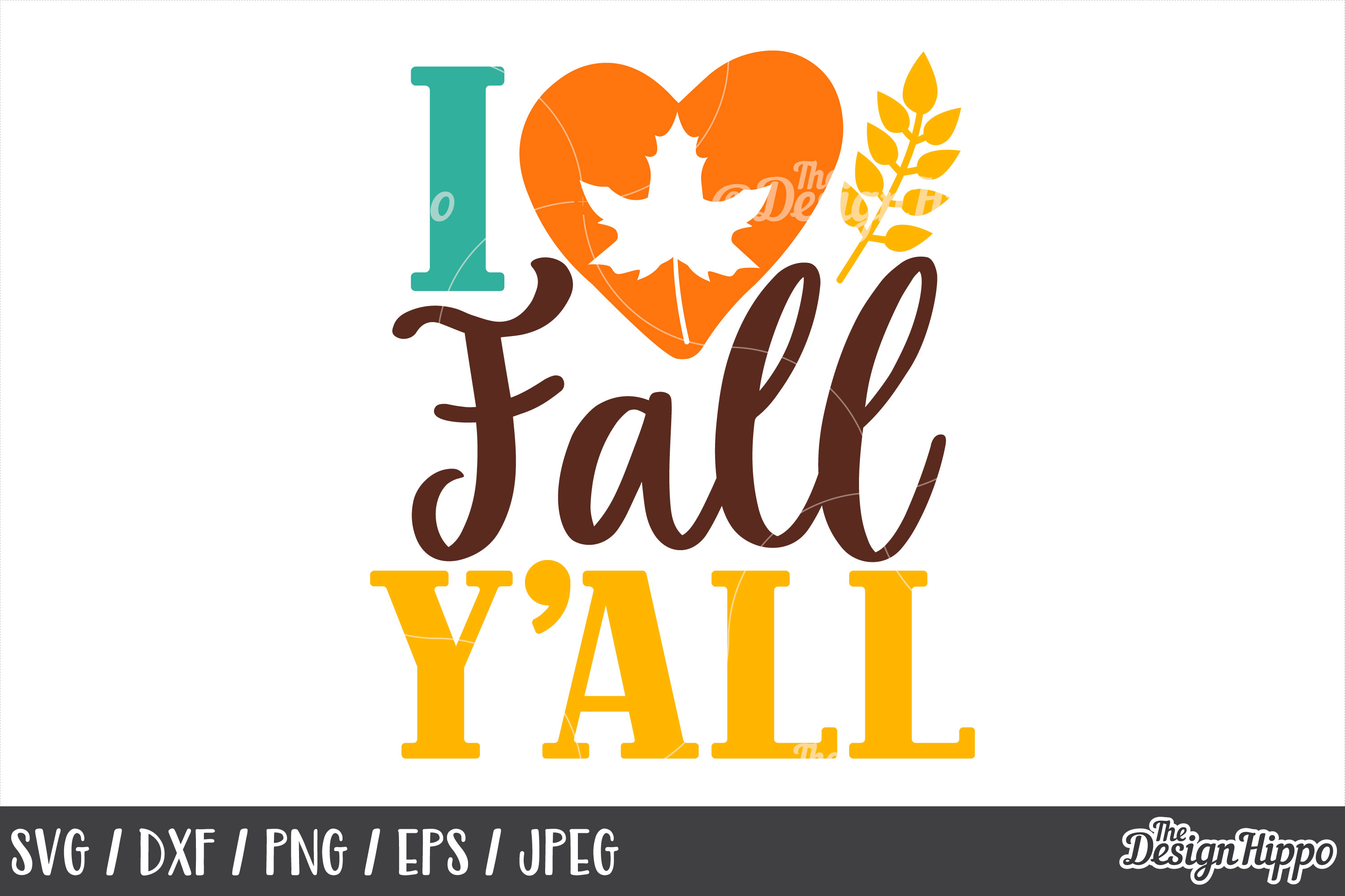I love fall y'all, SVG, Love fall, Autumn, October, SVG, PNG example image 1