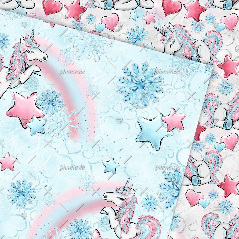 Winter Unicorn Digital Papers example image 5