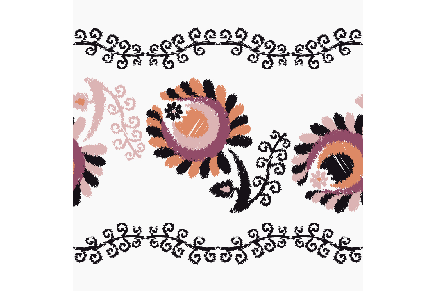 Decorative flowers. Set of 10 seamless patterns. example image 9