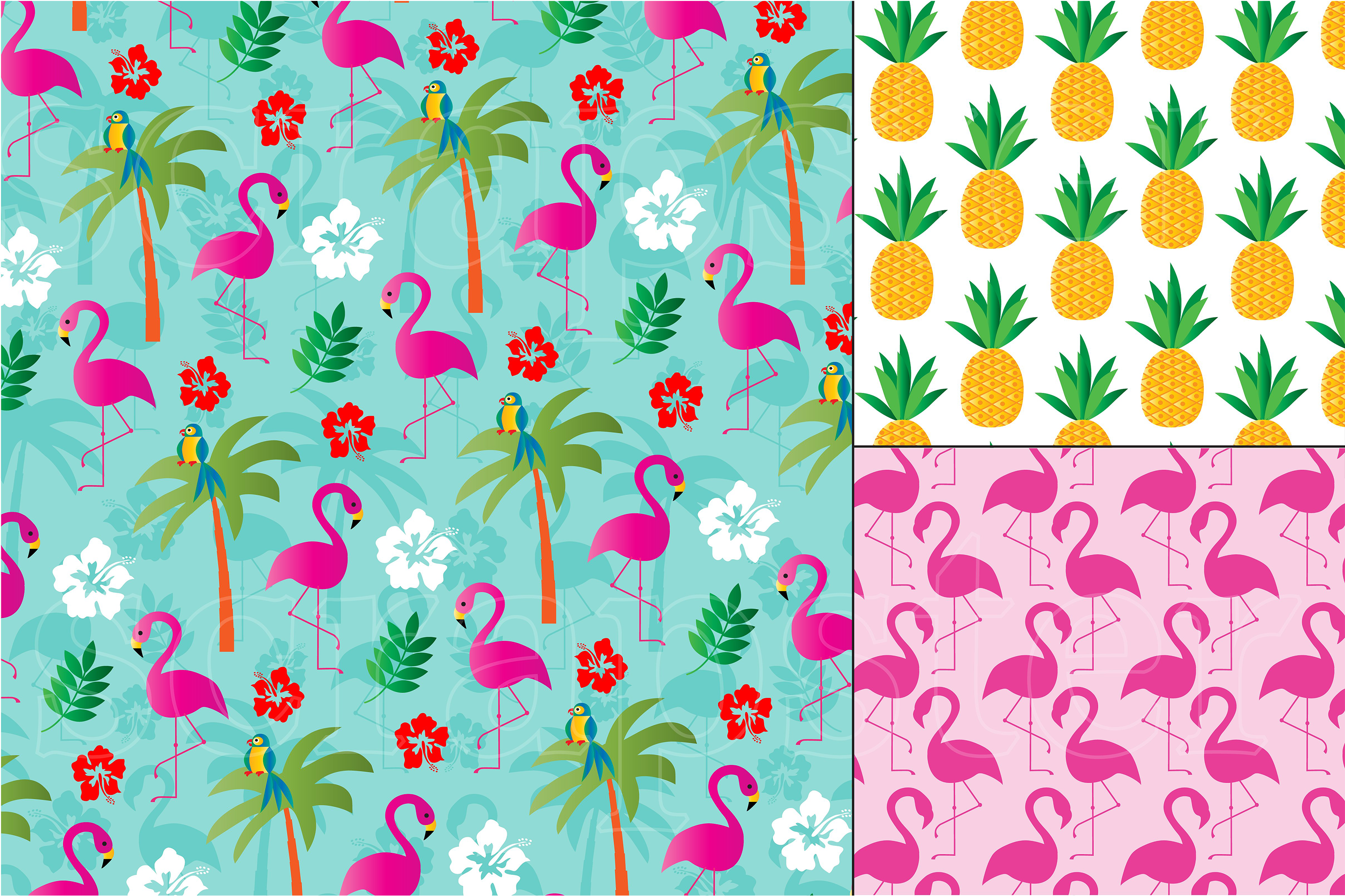 Flamingo & Pineapple Patterns example image 2