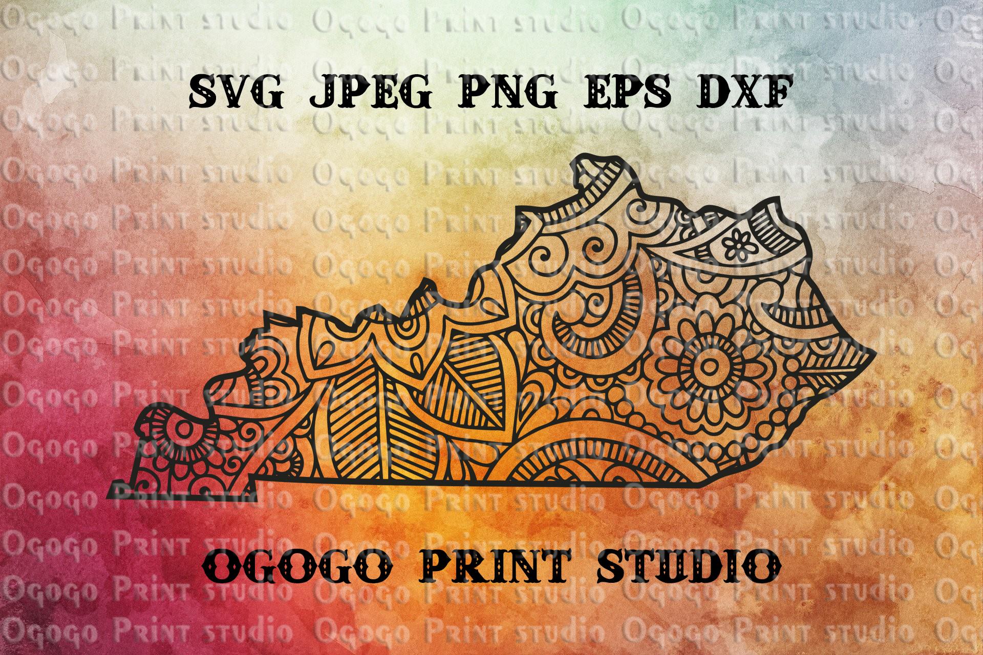 Kentucky SVG, Zentangle SVG, Travel svg, Doodle Art, Mandala example image 1