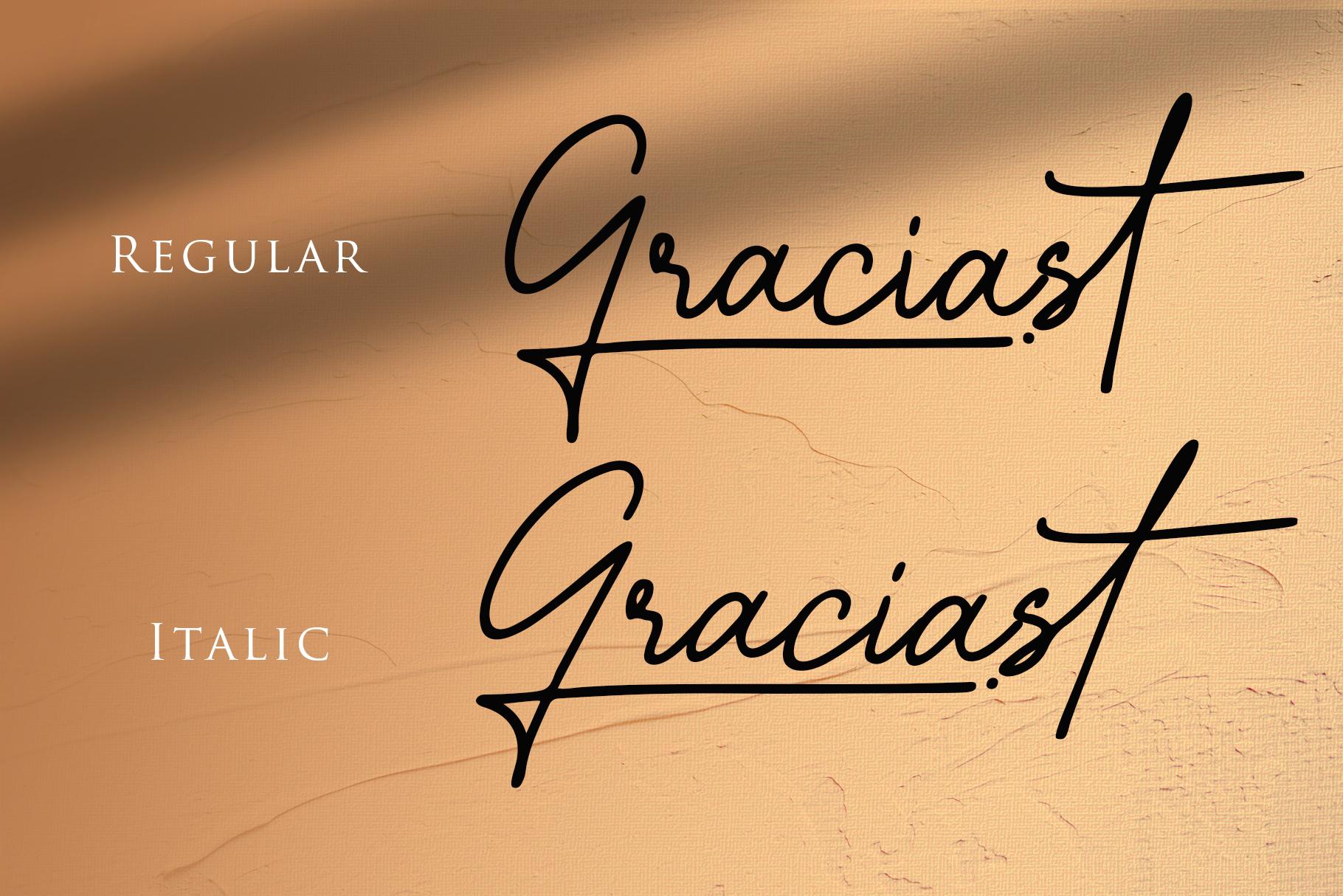 Graciast - Signature Font example image 2