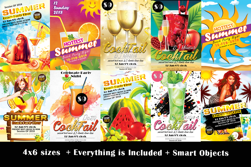 10 Summer Beach Cocktail Party Flyers Bundle example image 1