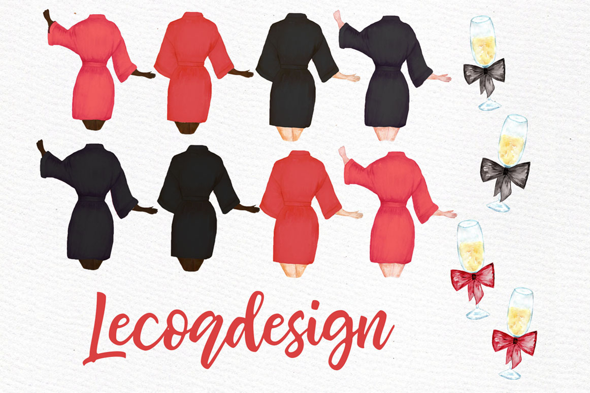 Bridesmaid clipart, WEDDING ROBES CLIPRT, Bachelorette Party example image 5