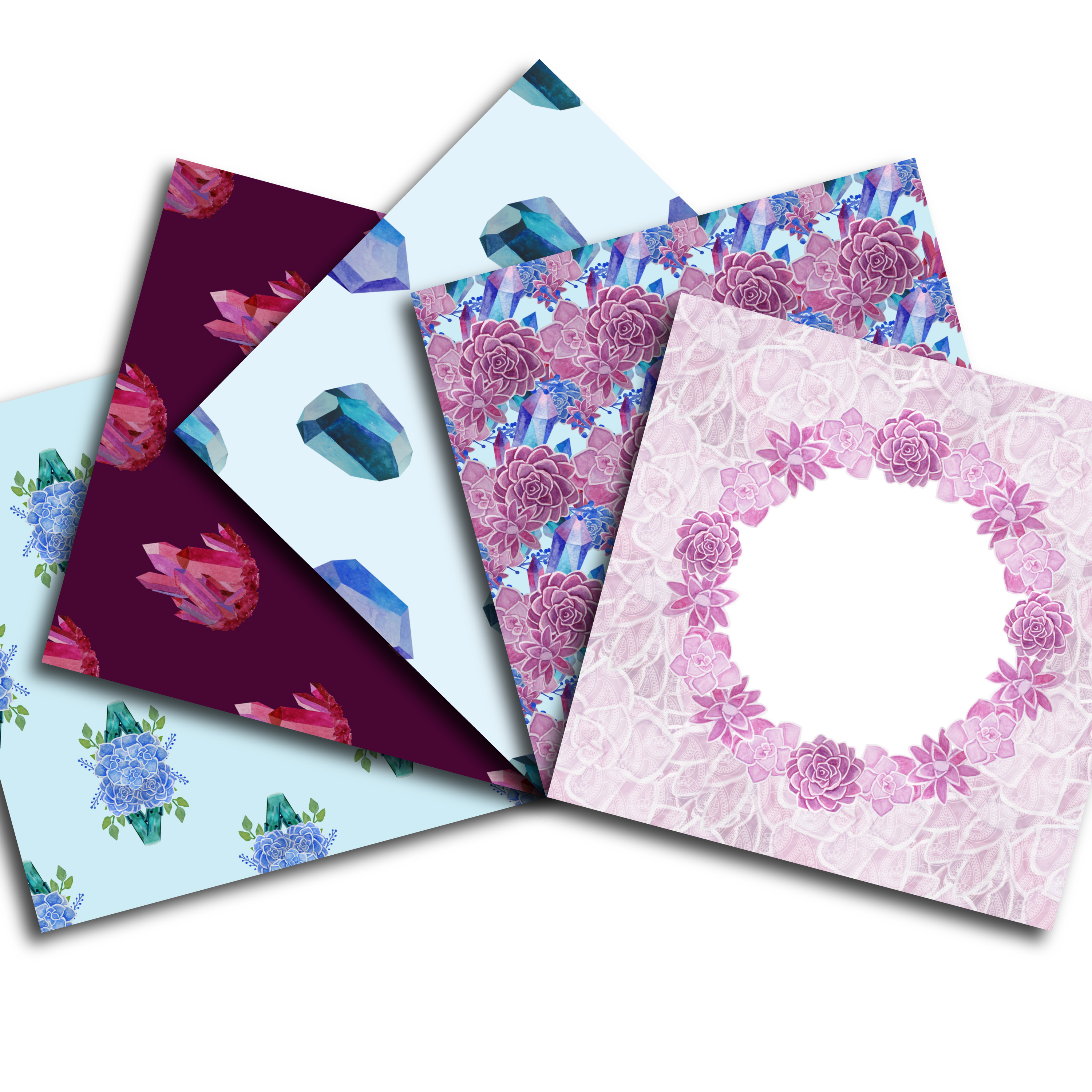 Succulents and Crystals Paper Pack example image 3