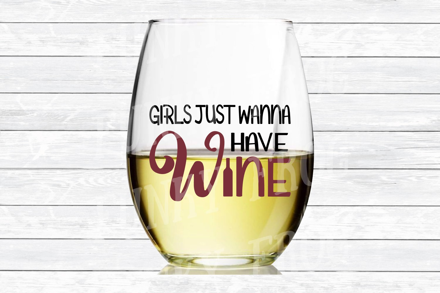 Girls Just Wanna Have Wine SVG Cut File for Crafters example image 3
