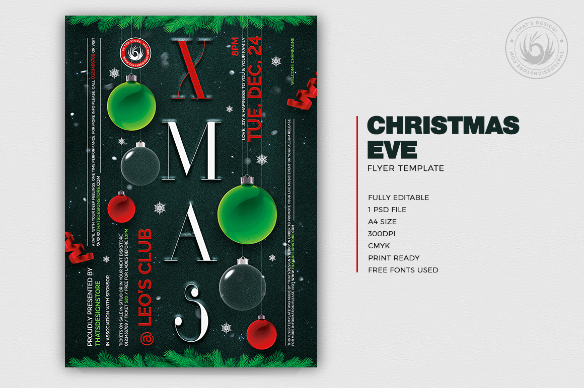 Christmas Eve Flyer Template V13 example image 2