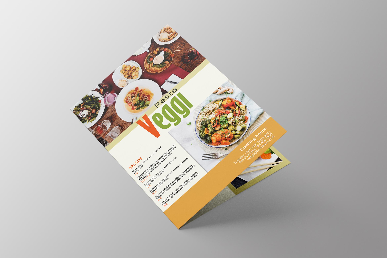 Vegan Menu Bifold Brochure A3 - AI/PSD Templates example image 2