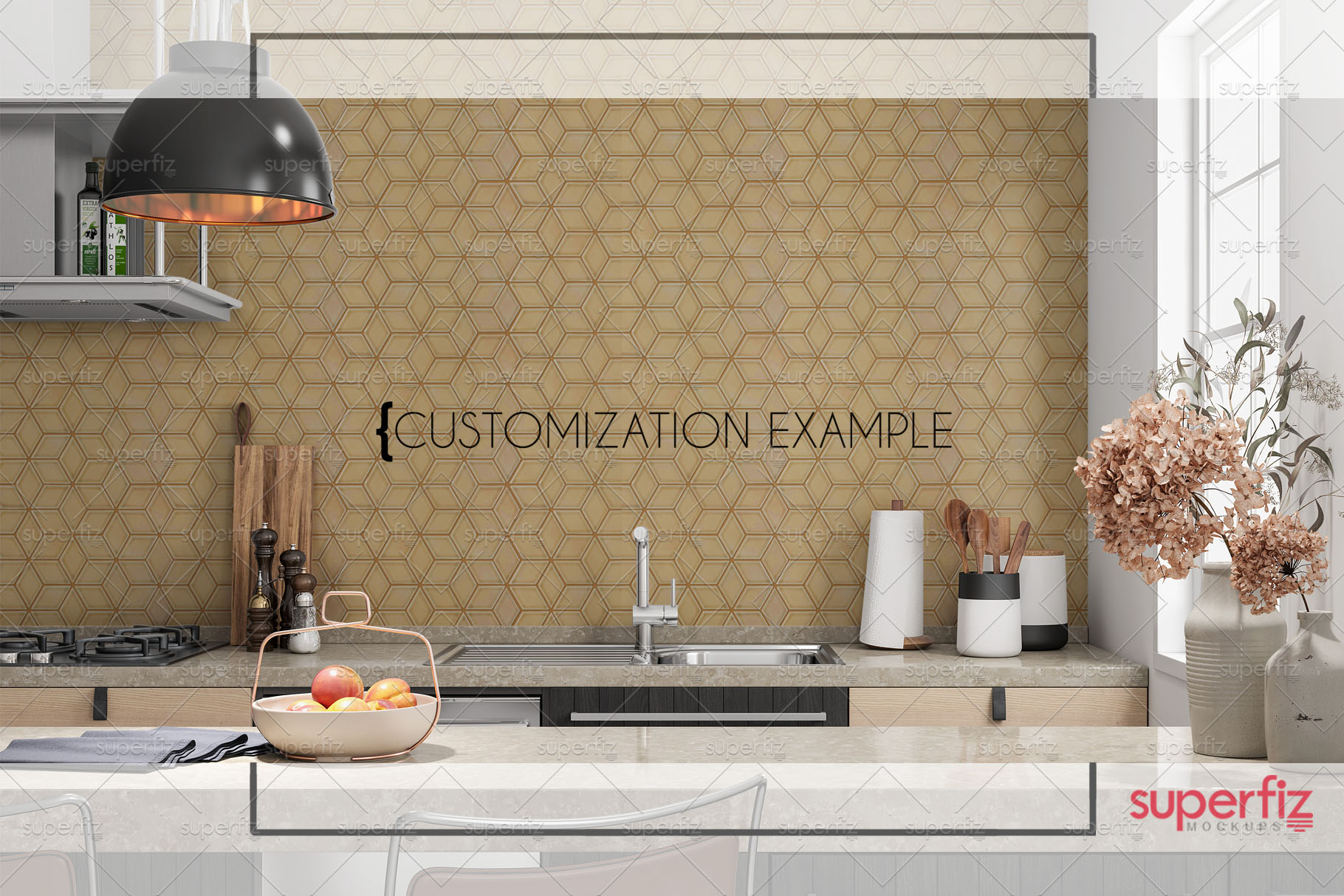 Blank Wall Kitchen PSD Mockup SM73 example image 7