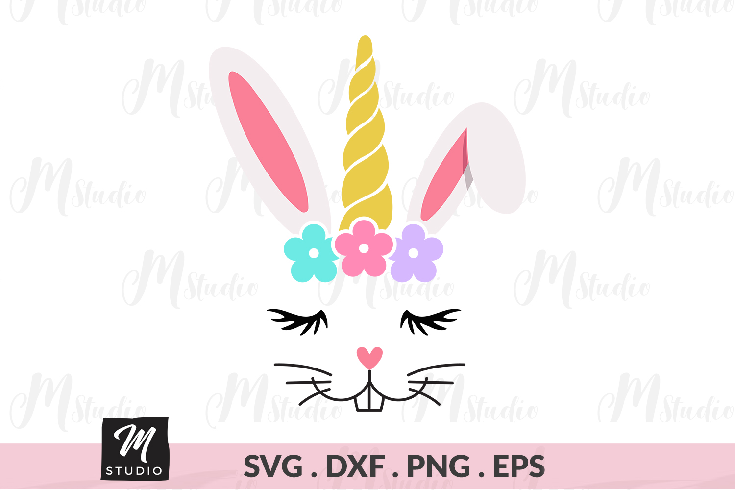 Easter Bunny unicorn svg. example image 1