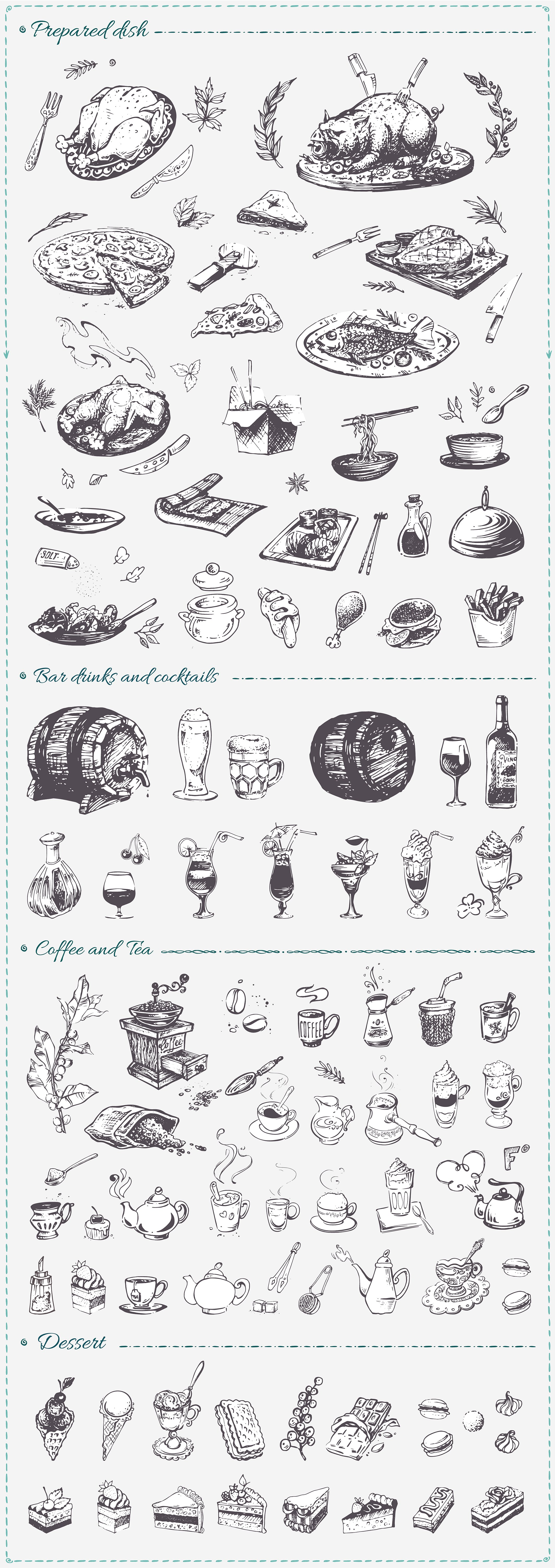 Hand drawn cooking and food icons example image 3