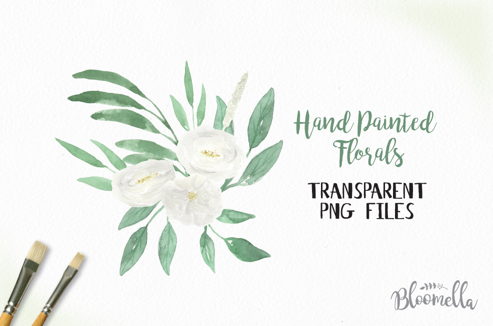 Watercolor White Blooms Clipart Bouquets Flowers Green