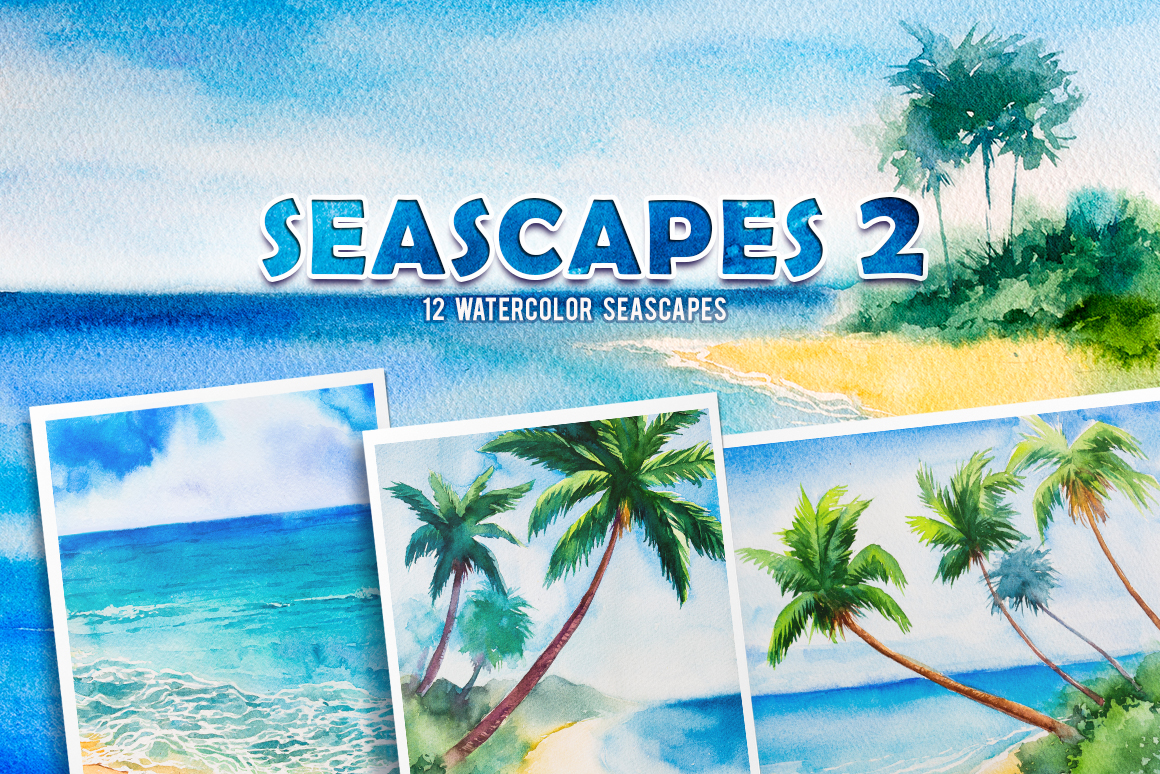 Seascapes 2. Watercolor set. example image 1