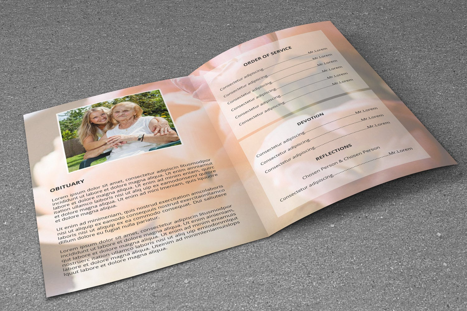 Floral Funeral Program Template, Photoshop & MsWord Template example image 2