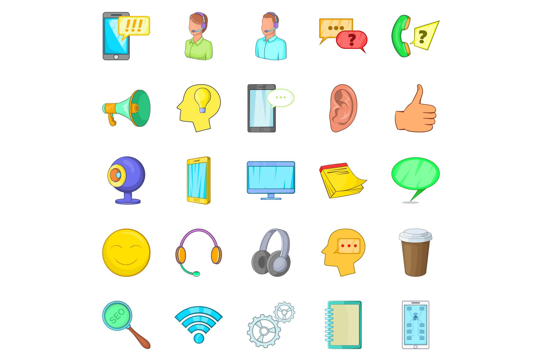 Cell phone icons set, cartoon style example image 1
