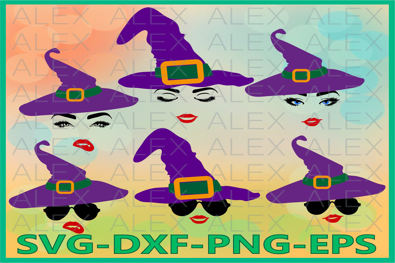 Witch Face Svg, Halloween Svg, Witch with glasses Svg example image 1