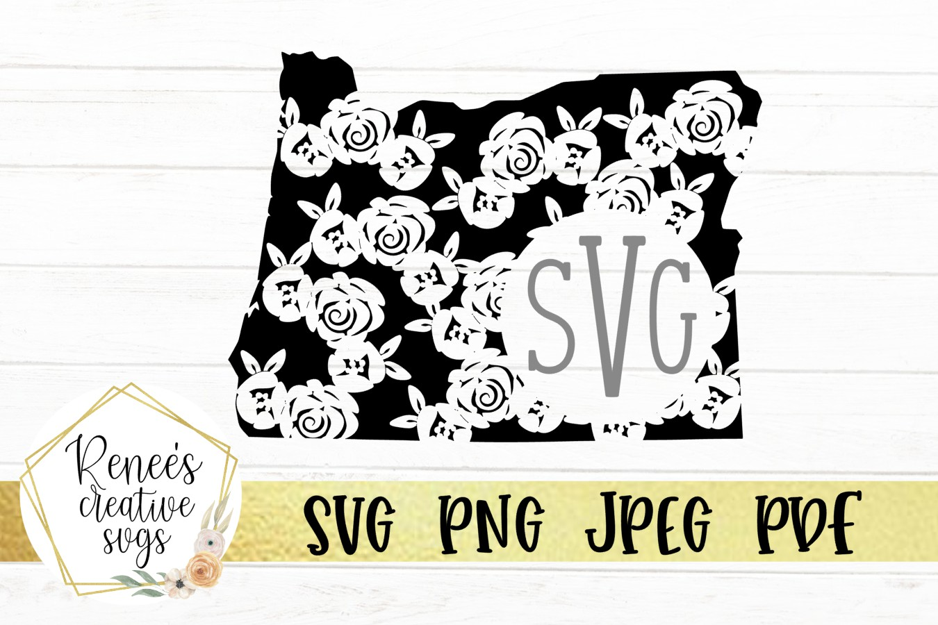 Oregon Floral Monogram| State SVG | SVG Cutting file example image 1