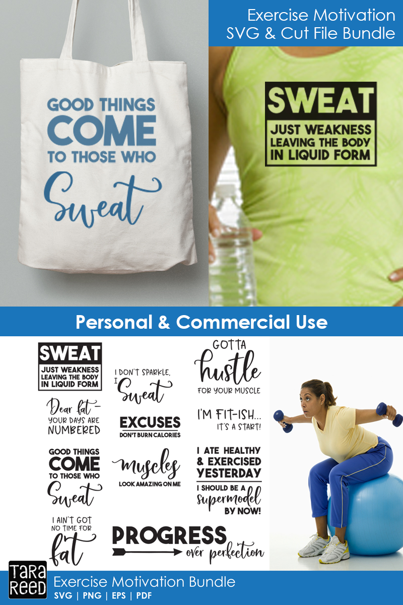 Exercise Motivation - Fitness SVG and Cut Files for Crafter example image 4