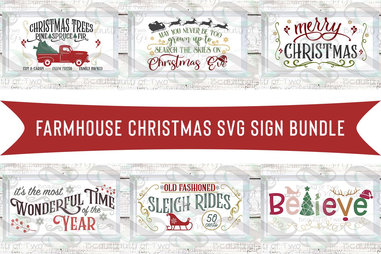 Farmhouse Christmas svg Sign Design bundle, 6 svg designs example image 1