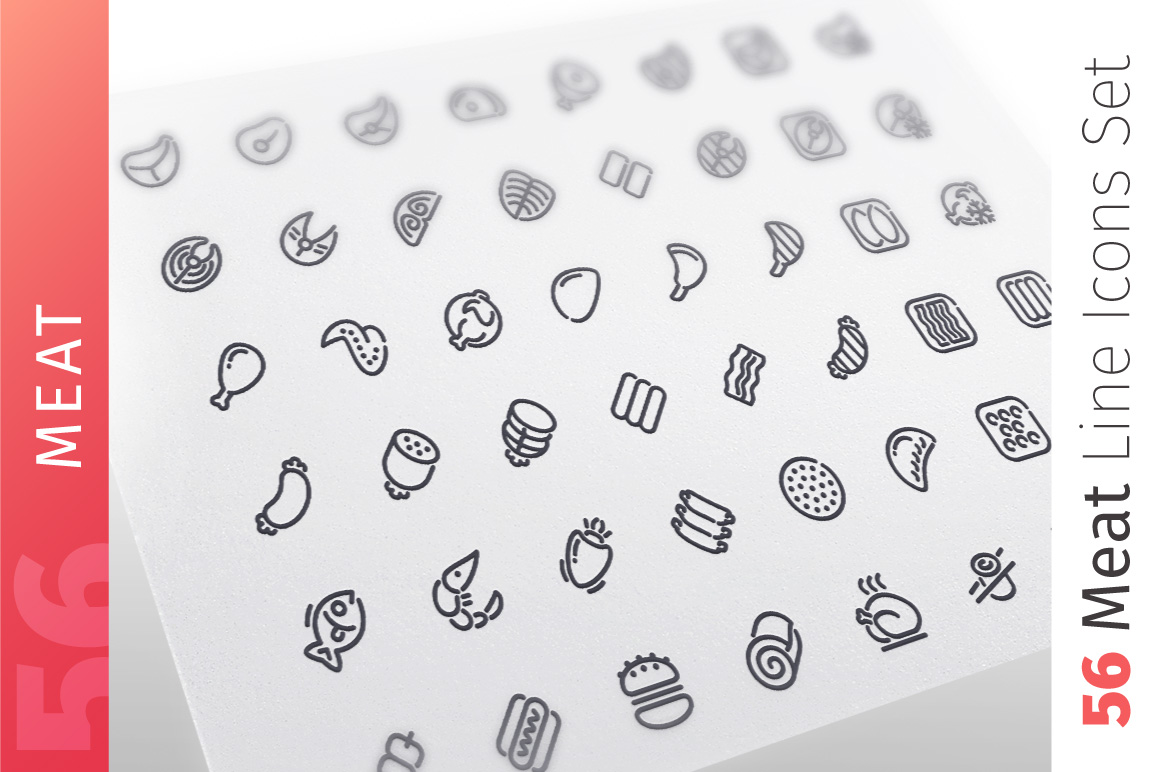 Meat Line Icons Set example image 1