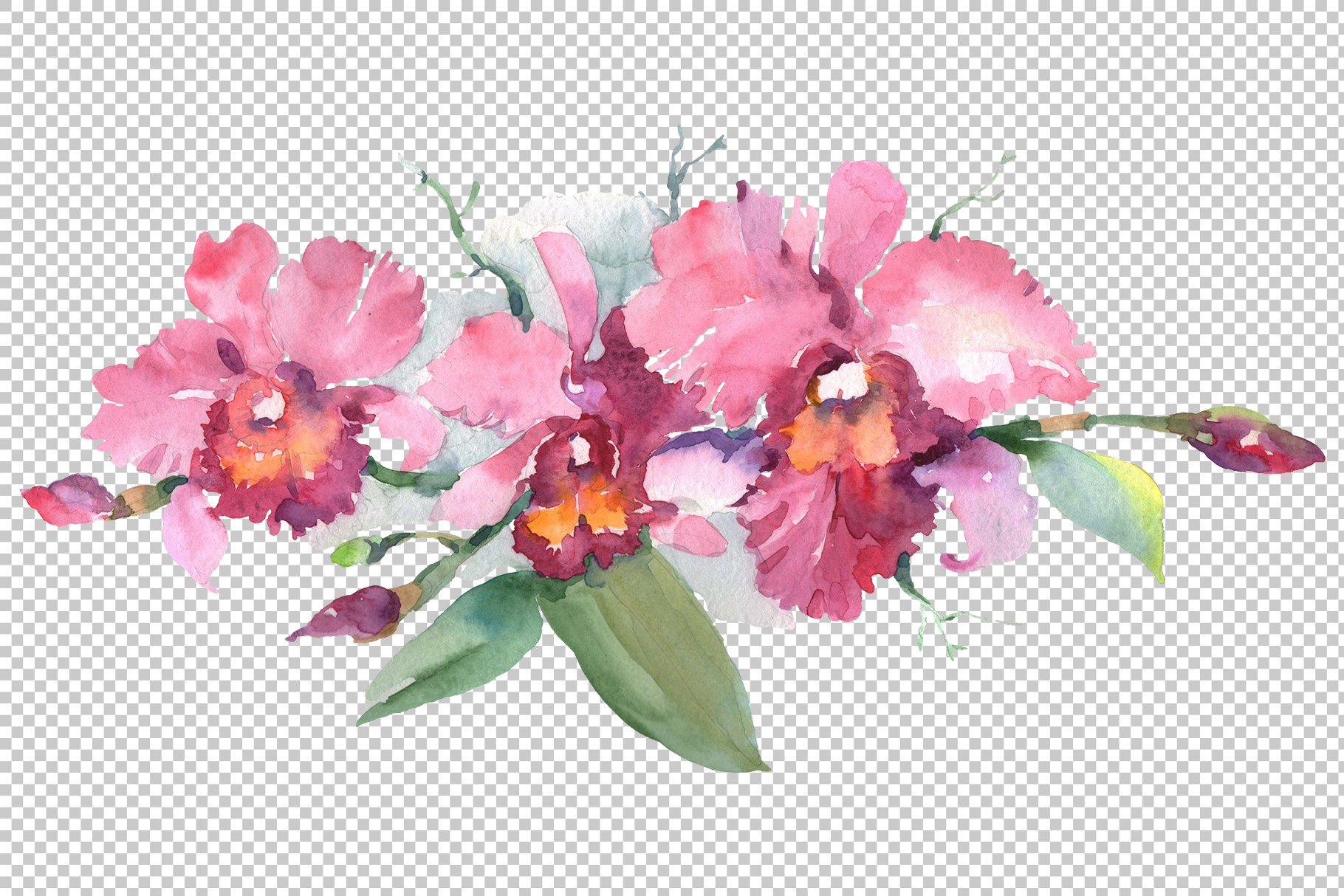 Branch of pink orchids watercolor png example image 2