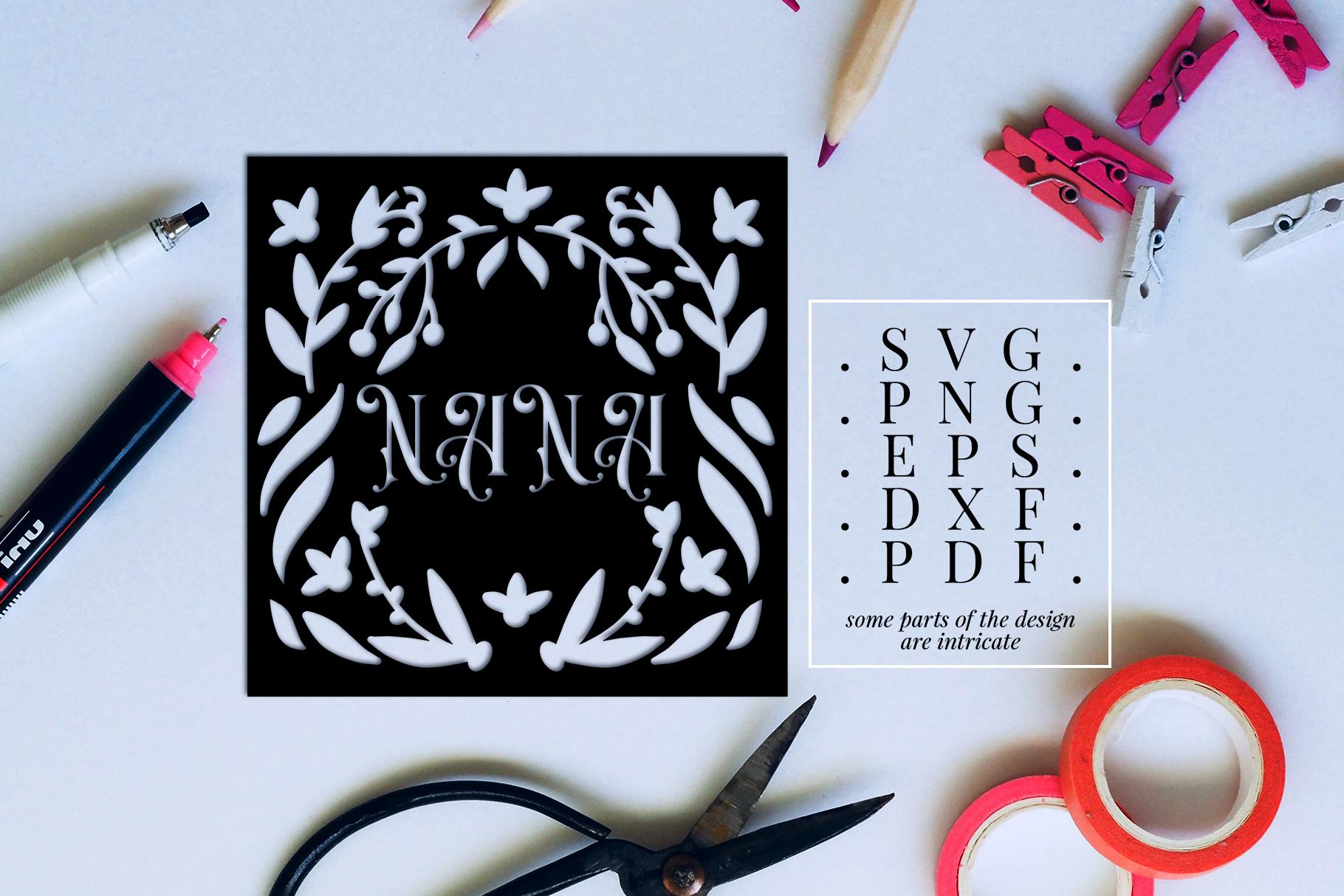Nana Papercut Template, Family Clip Art, SVG, PDF, DXF example image 2