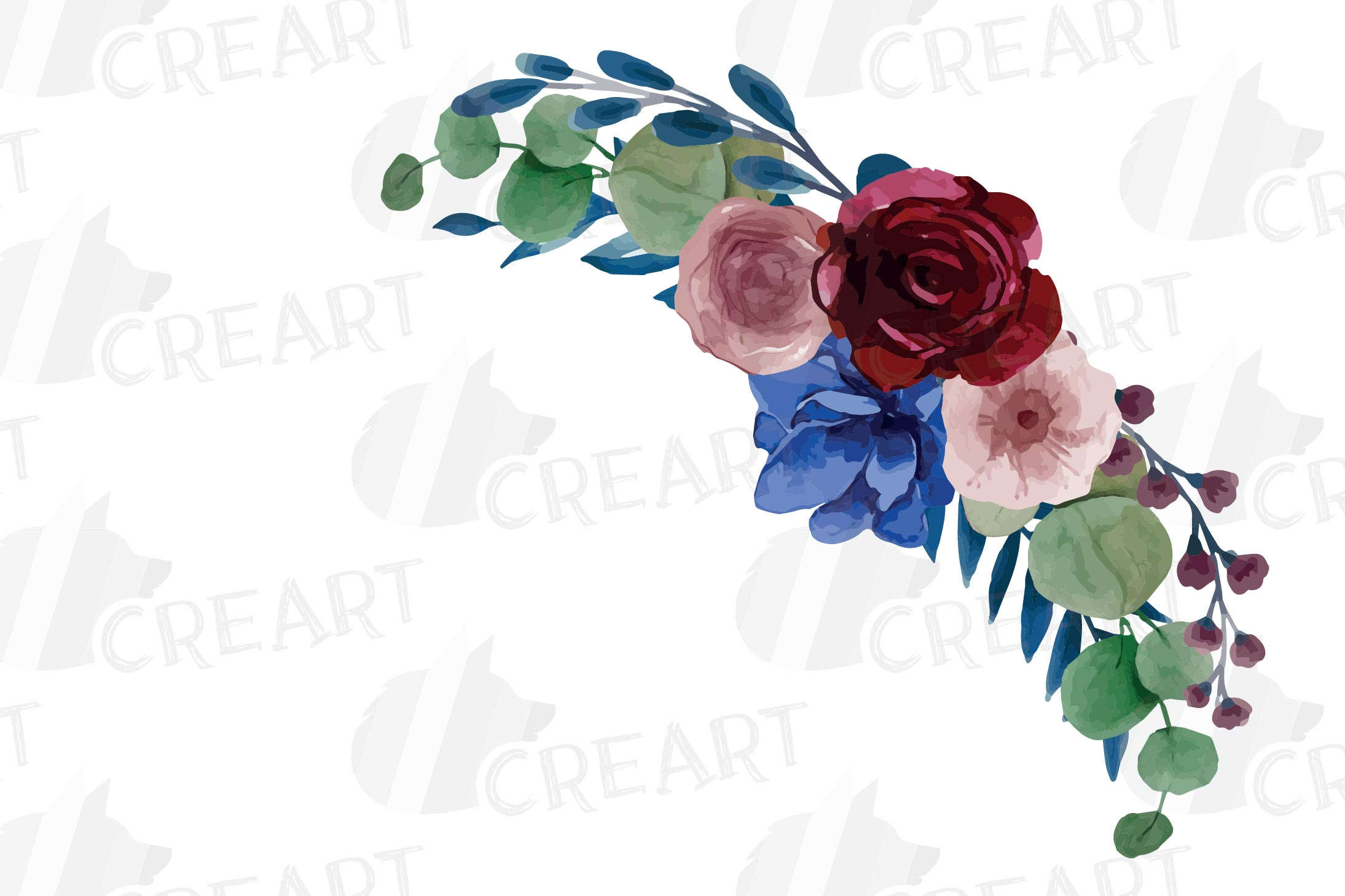 Colorful navy and burgundy floral watercolor wedding bouquet example image 3