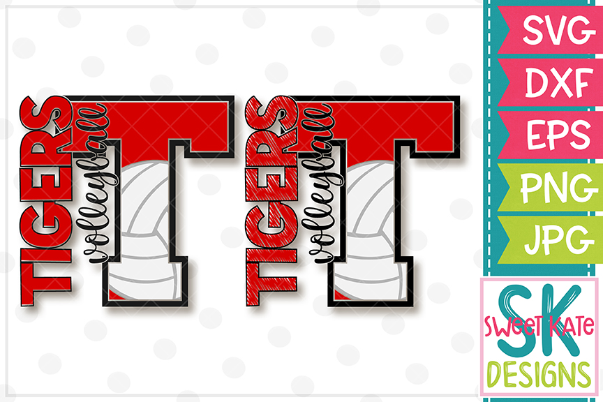 T Tigers Volleyball SVG DXF EPS PNG JPG example image 1