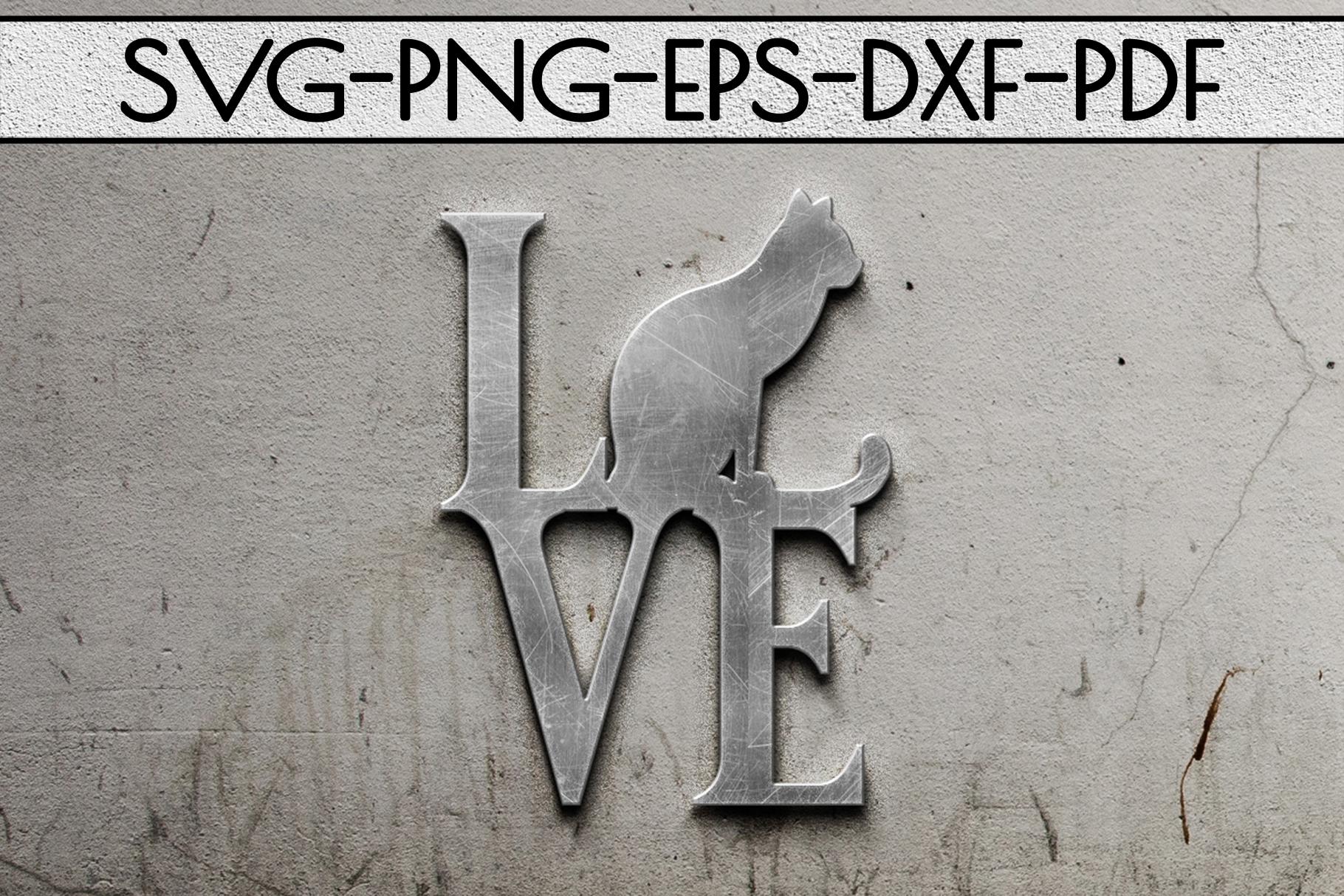 Cat Love Papercut Template, Cat Lover Decor, SVG, DXF PDF example image 2