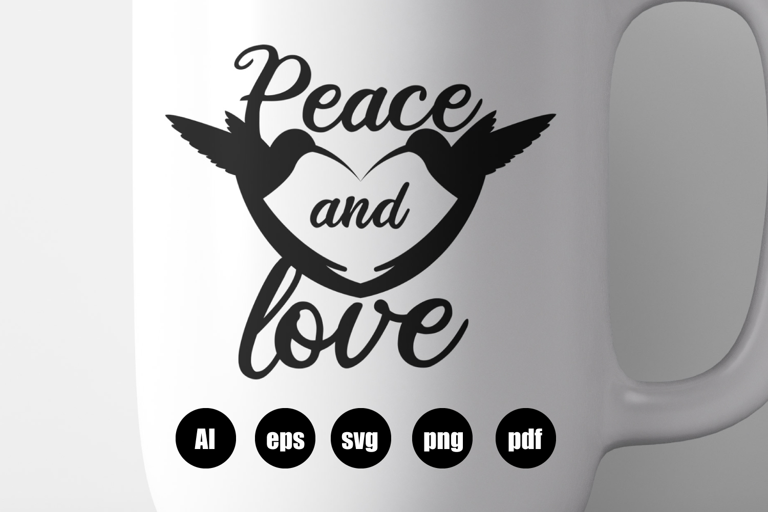Peace and Love SVG, EPS, AI, PDF, PNG example image 1