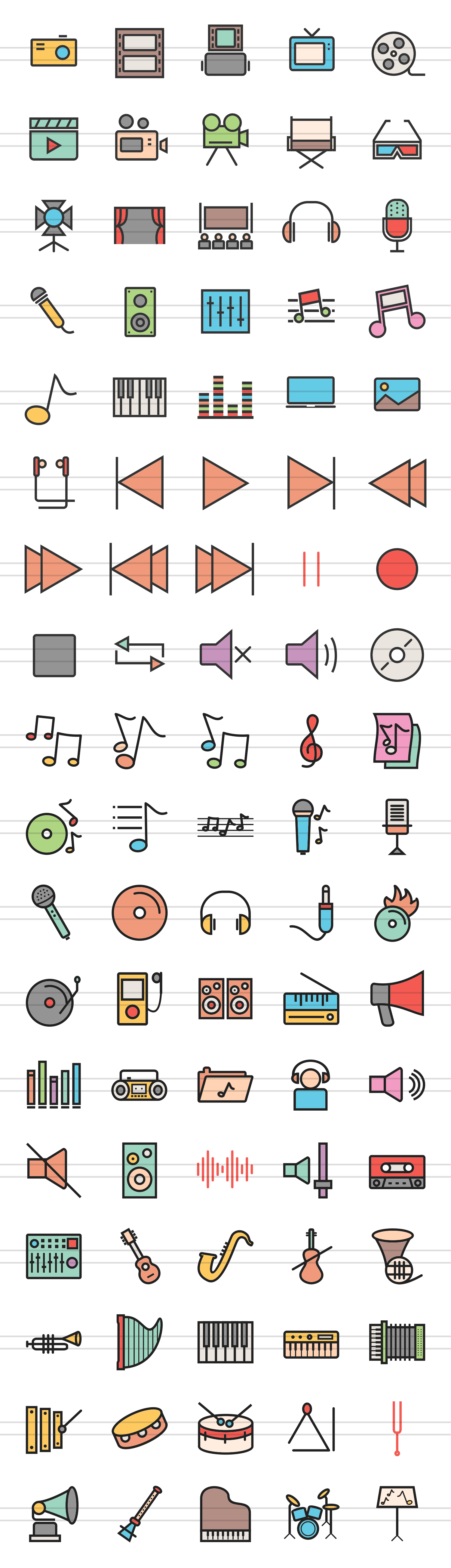 90 Music & Multimedia Filled Line Icons example image 2